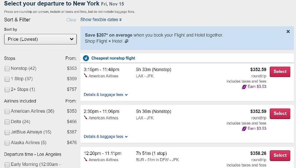 viewing results on orbitz