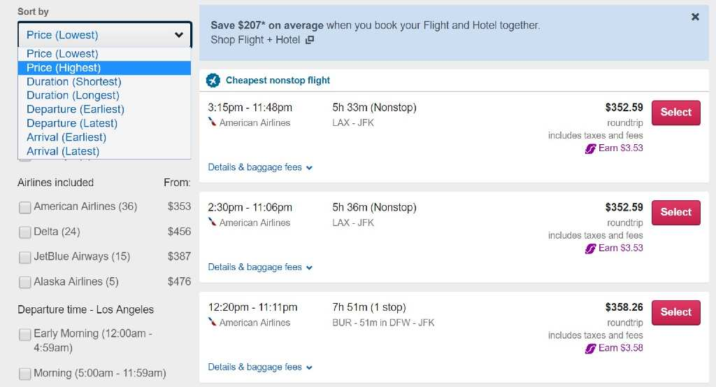 filtering results on orbitz