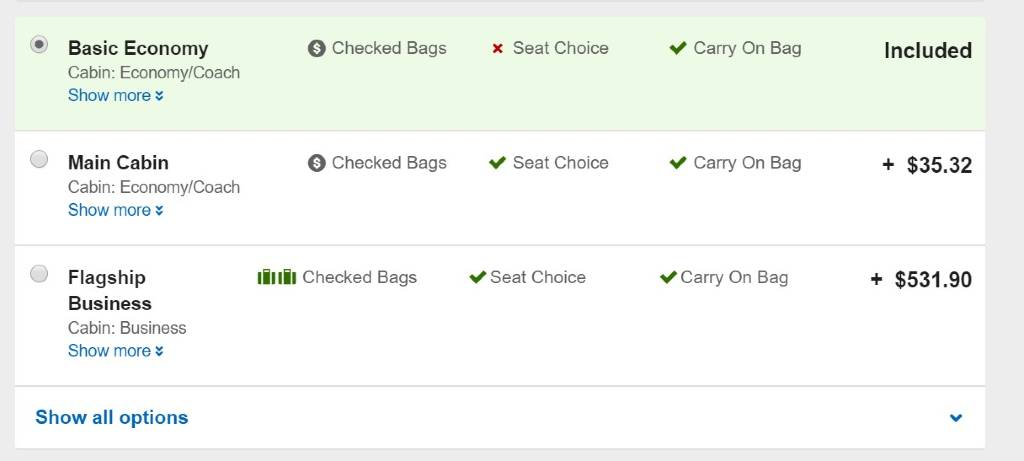 selecting travel class on orbitz
