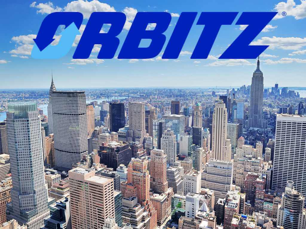 New York City Skyline with Orbitz logo above