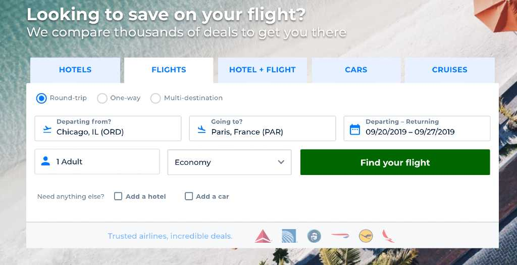 seaarching for flights on priceline