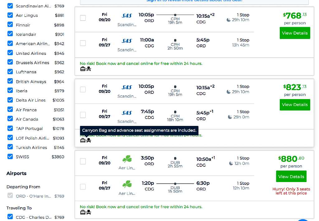 viewing flights on Priceline