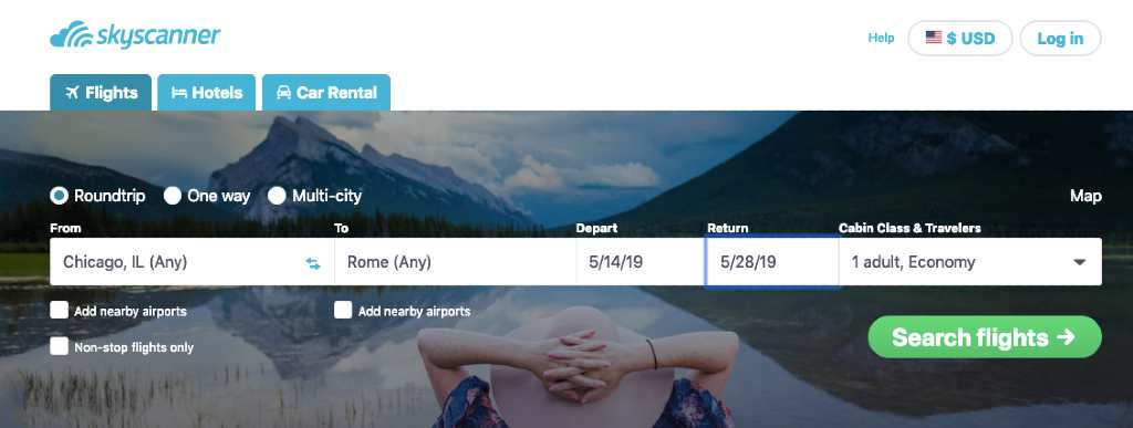 selecting route on skyscanner