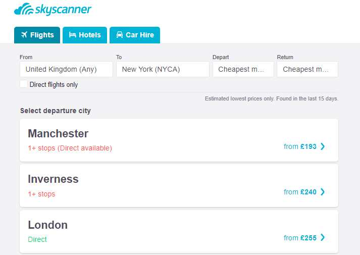 flexible location on skyscanner