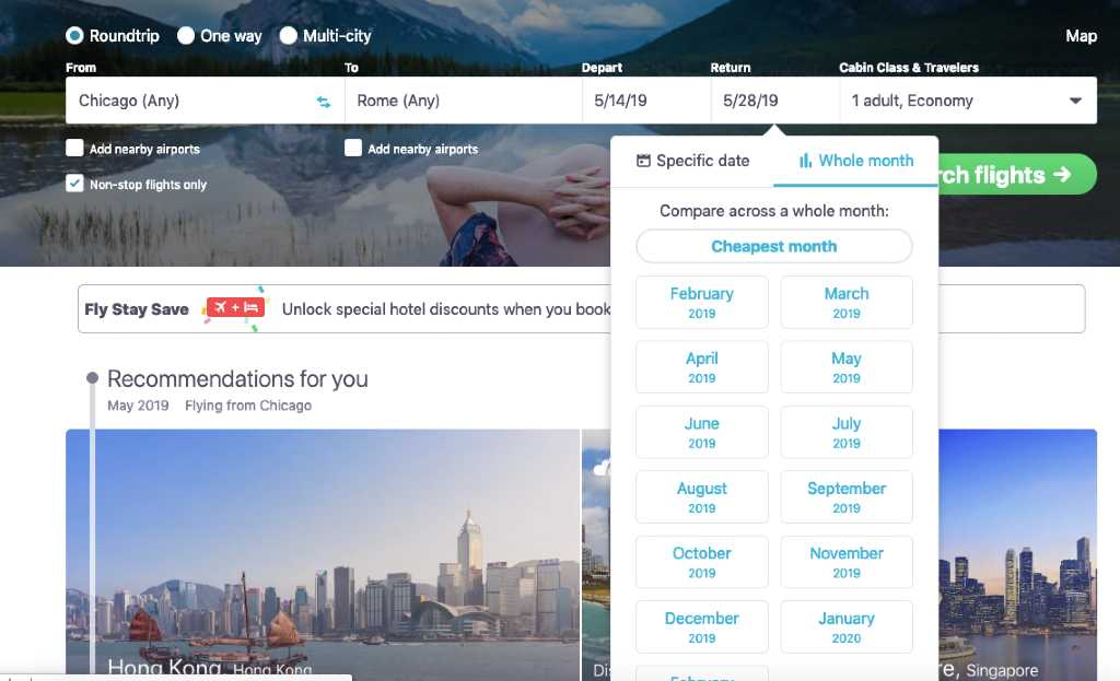 flexible dates on skyscanner