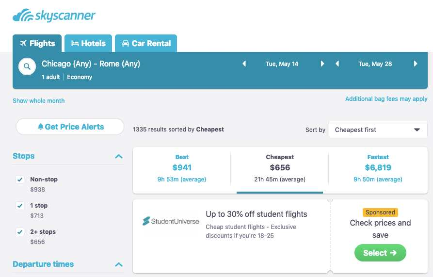view whole month on skyscanner