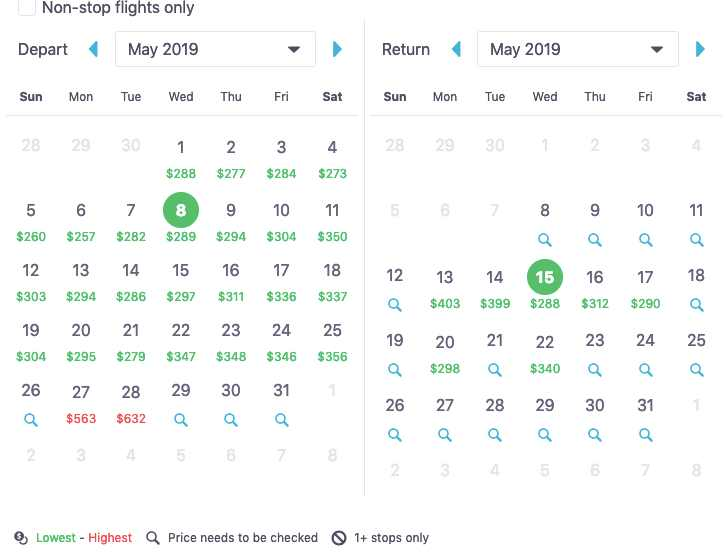 calendar view on skyscanner