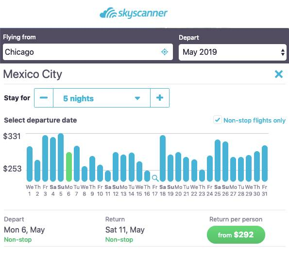 changing trip duration on skyscanner