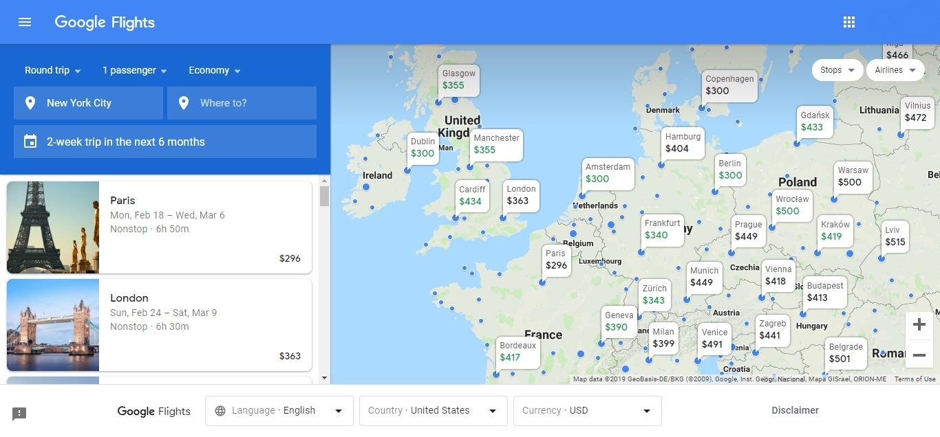 map view in google flights