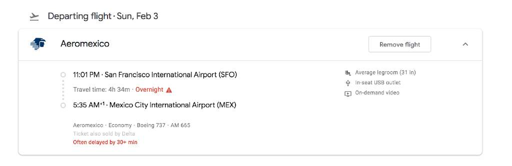 flight details on google flights