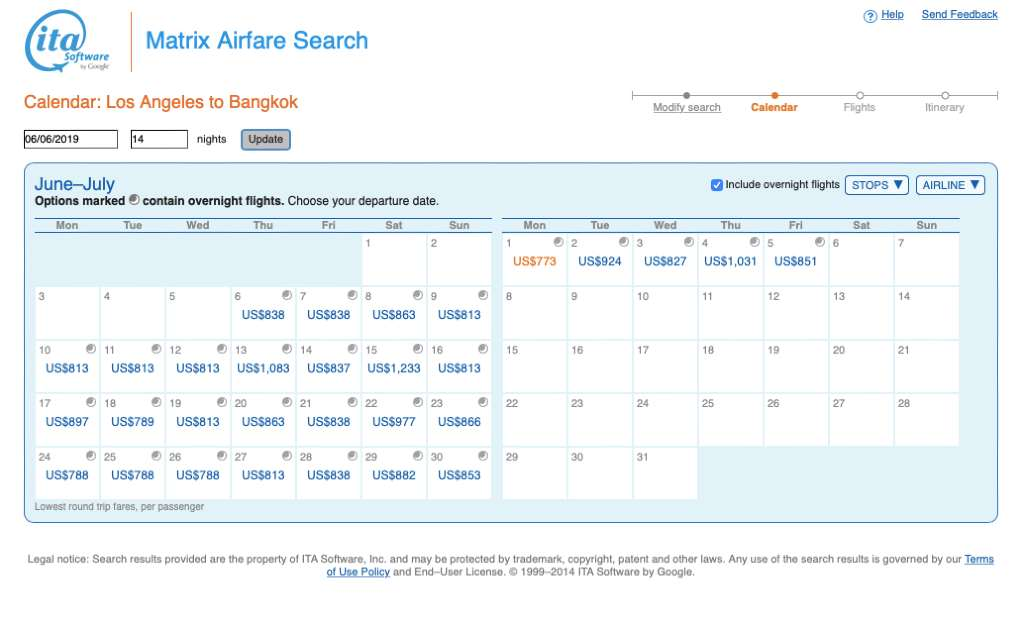 searching for flights on  ITA Matrix