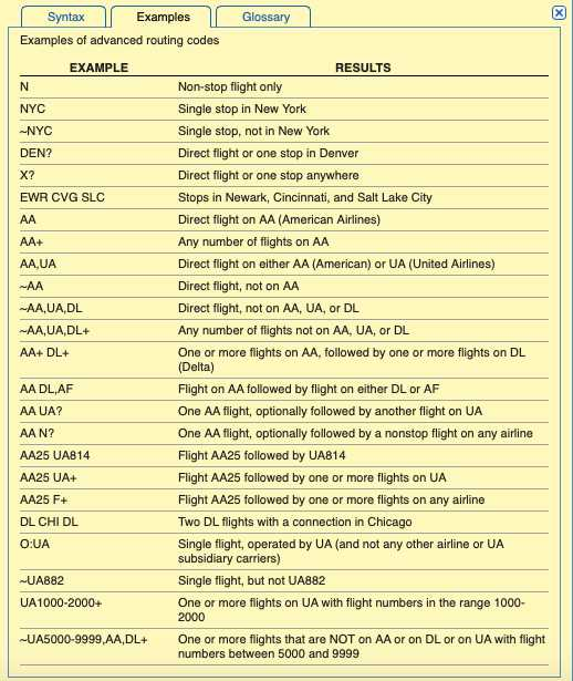 ITA Matrix code examples