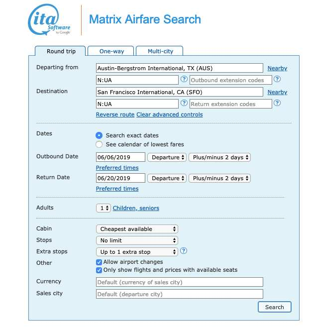advanced searching on  ITA Matrix