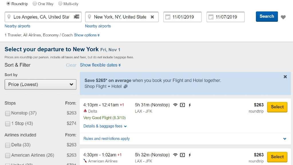 flight results on Expedia