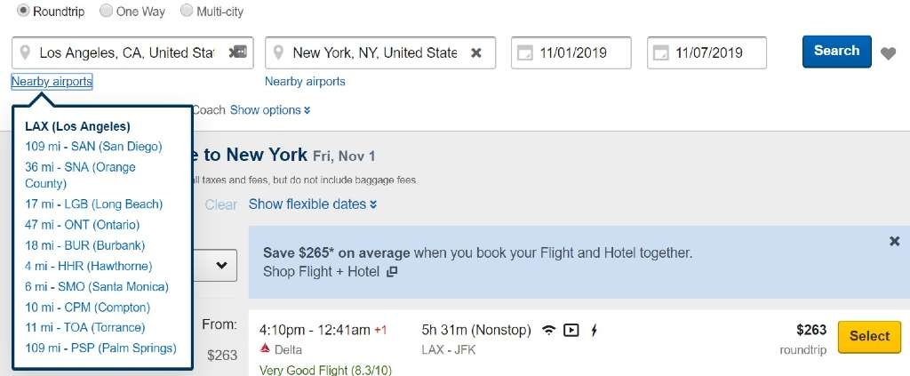 searching nearby airports on Expedia