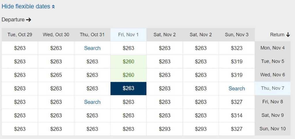 affichage de dates flexibles sur Expedia