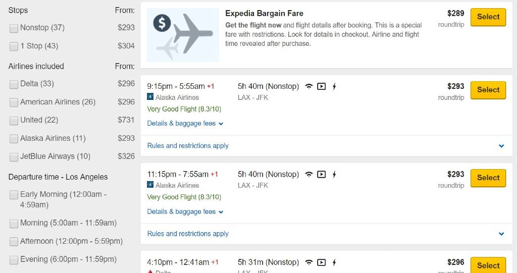 filtering results on Expedia
