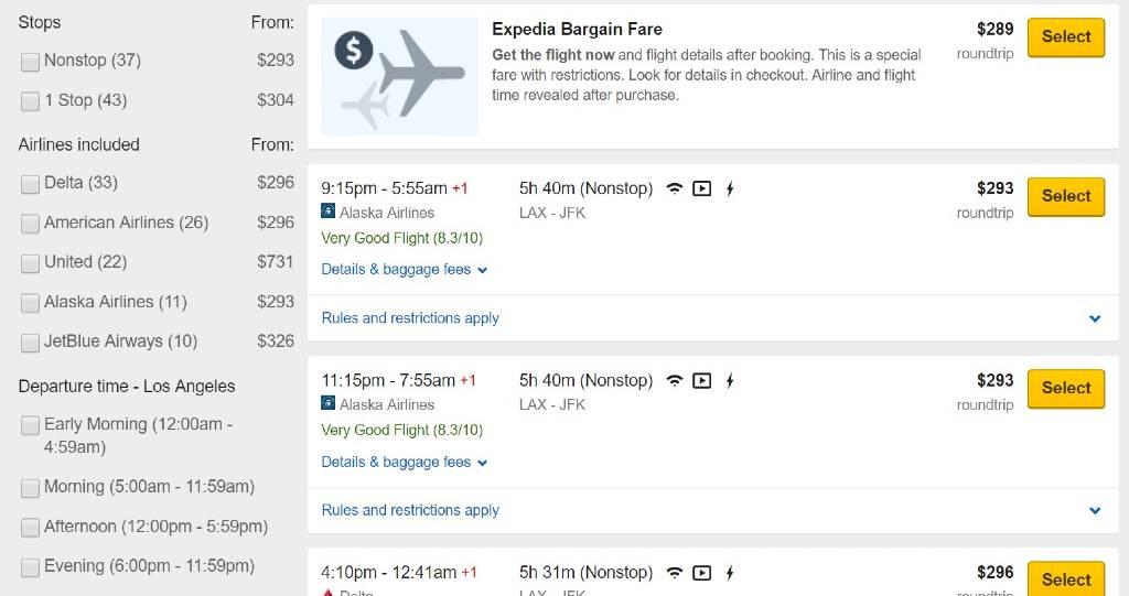 filtrage des résultats sur Expedia