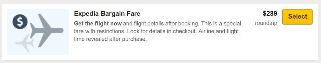 bargain fares on Expedia
