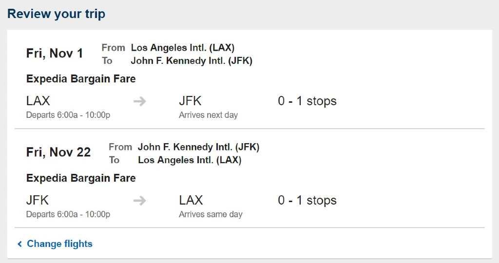 bargain fare details on Expedia