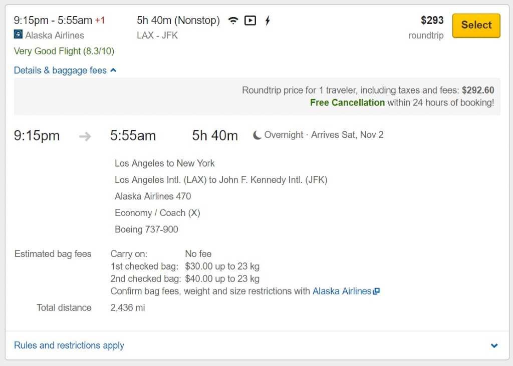 affichage des frais supplémentaires sur Expedia