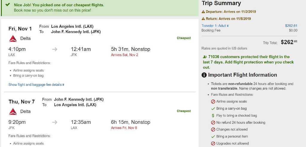 trip summary page on Expedia