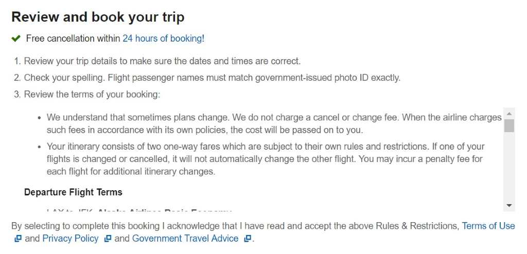 Expedia cancellation policy