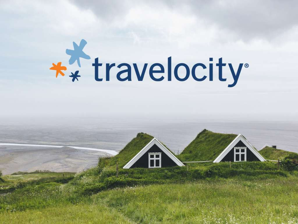 Icelandic turf houses with Travelocity logo