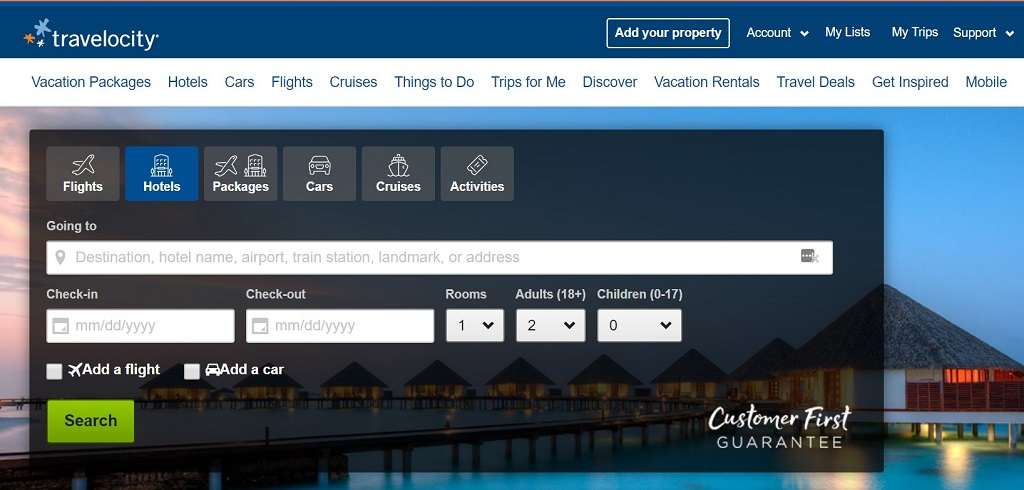 selecting trip type on Travelocity