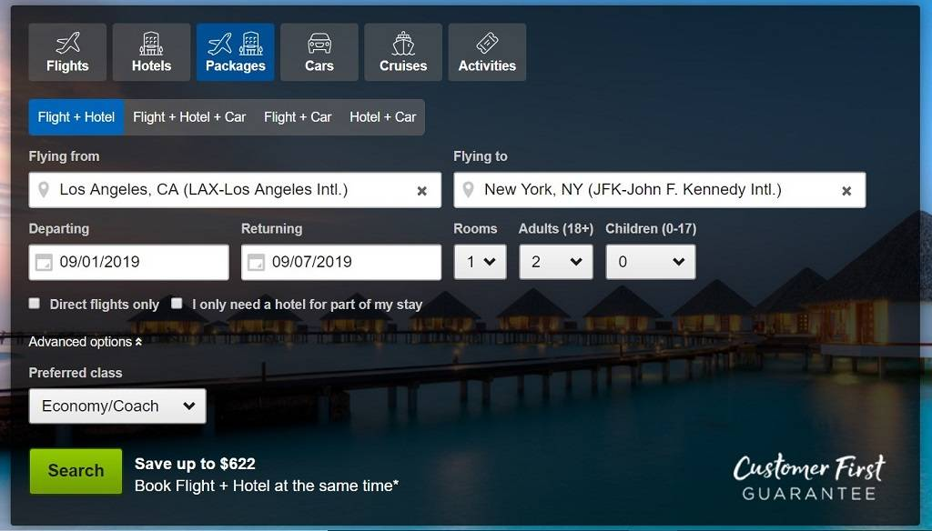 creating packages on Travelocity