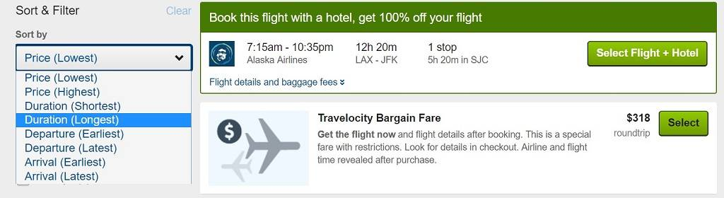 filtering results on Travelocity