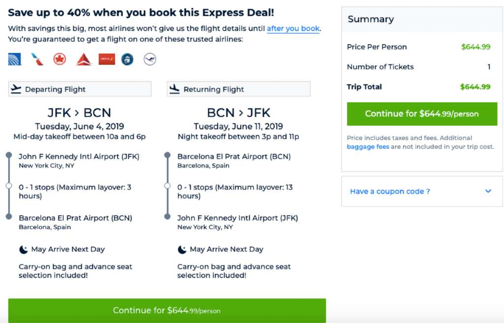 Priceline Express Deal example