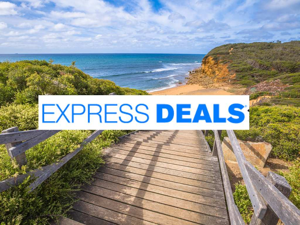 beach path with Priceline Express Deals logo
