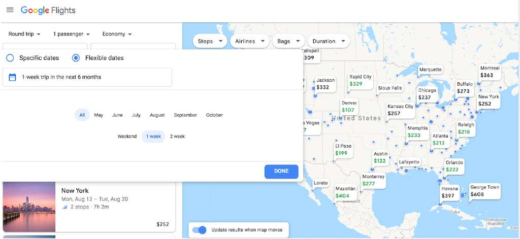 choosing destinations on Google Flights