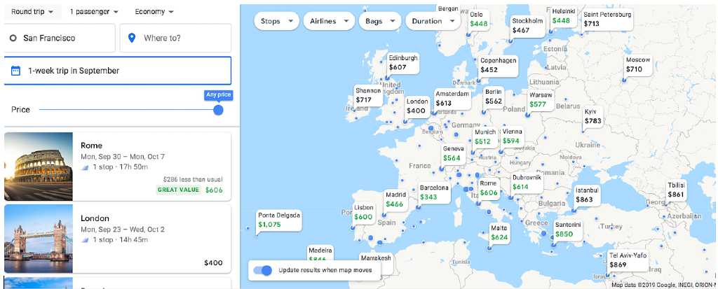 choosing a region on Google Flights