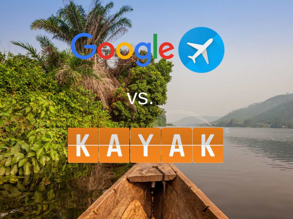Ghana scene with Google Flights and Kayak logos
