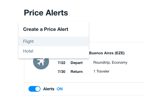 kayak price alert filters
