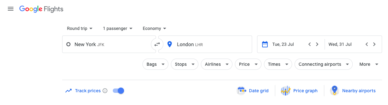 setting fare alerts on google flights