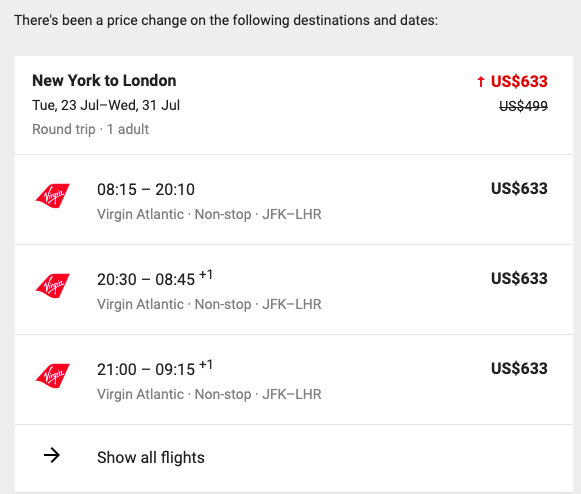 google flights fare alert