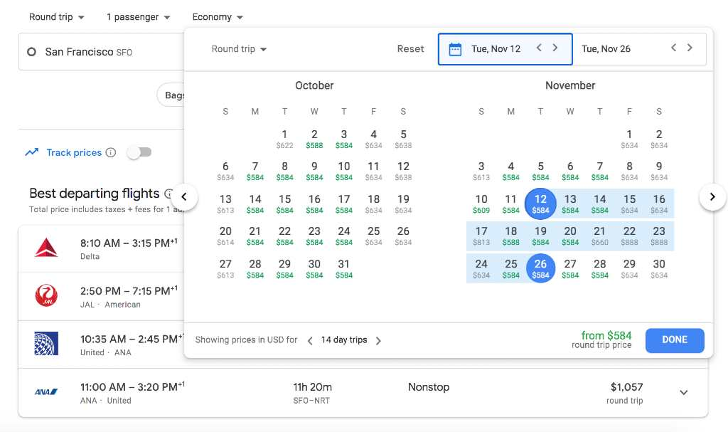 changing dates on google flights