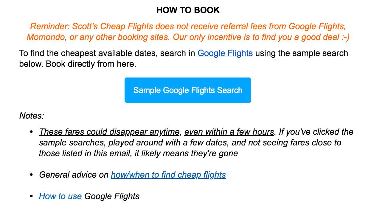 Scott's Cheap Flights booking instructions
