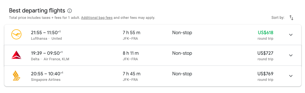 search results on google flights