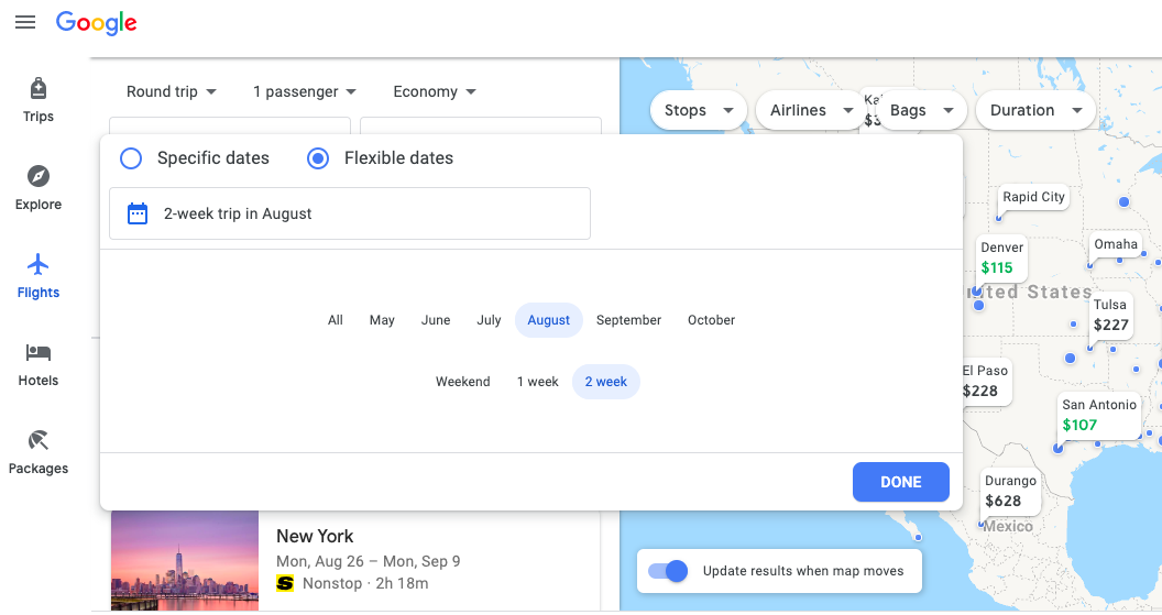 flexible dates on google flights