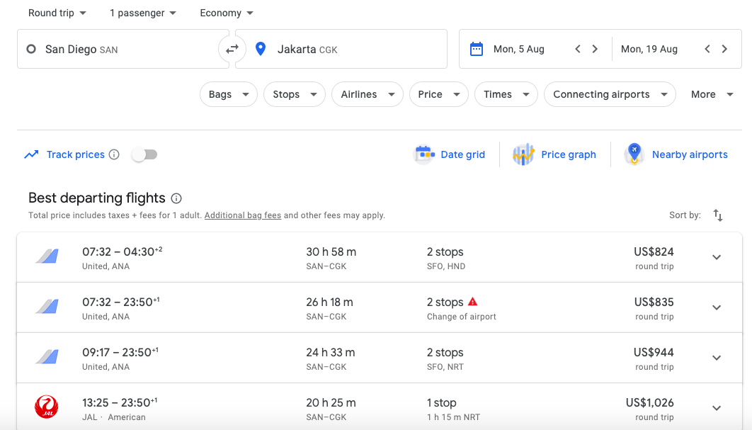 results on google flights