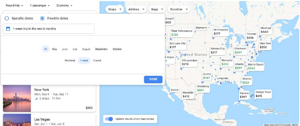 flexible date month search on google flights