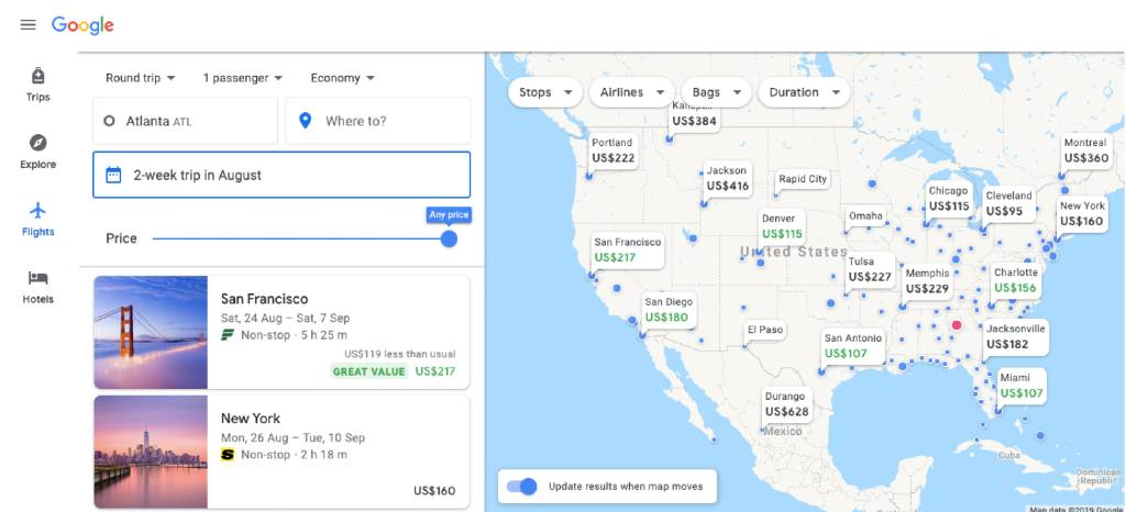 searching within US on google flights