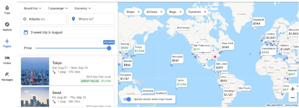 world view on google flights