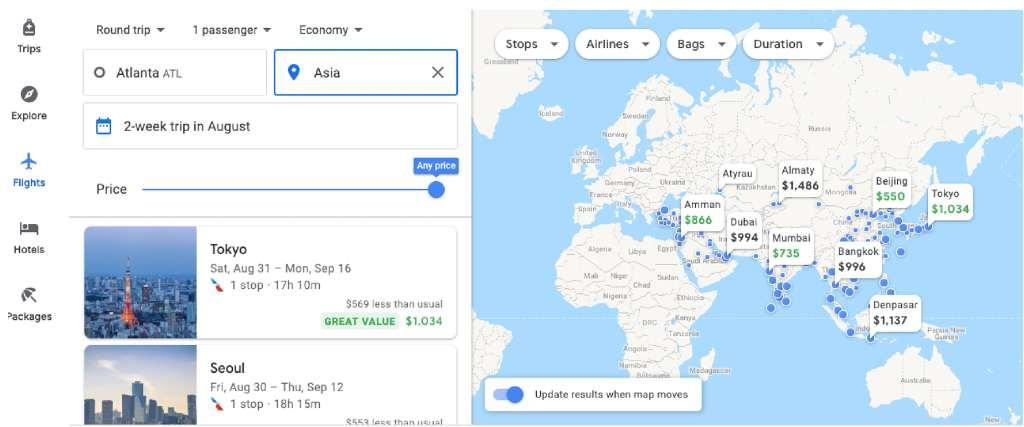regional search on google flights