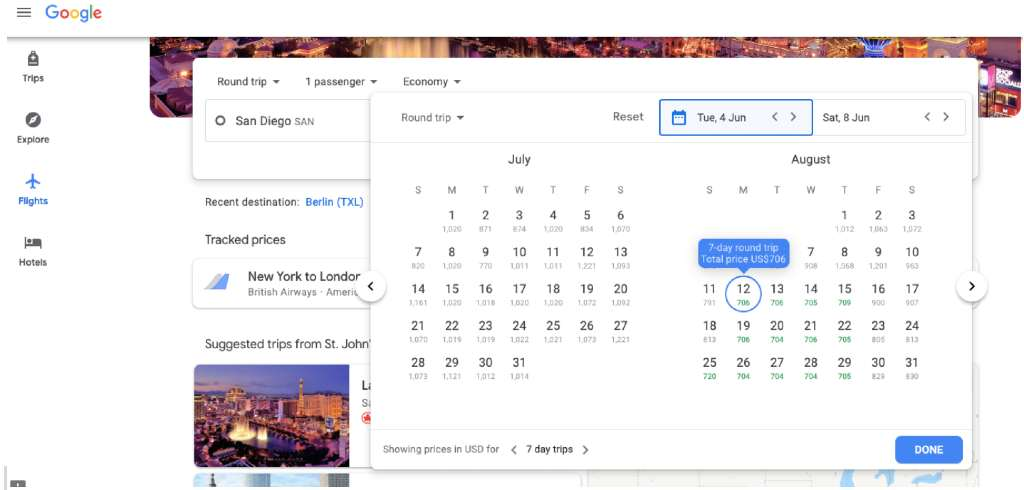 using calendar date search on google flights