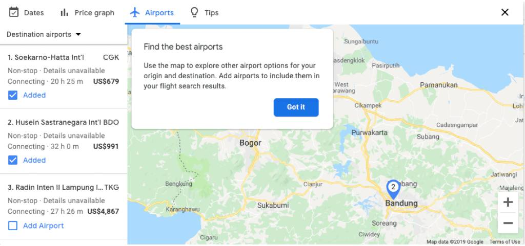 airport info on google flights